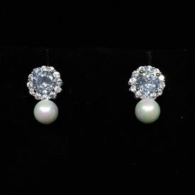 "-,CLEAR CZ & FAUX PEARL SMALL POST EARRINGS. .55"" LONG"