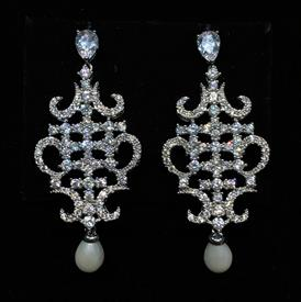 "-,CLEAR CZ ORIENTAL SHAPED DANGLE EARRINGS WITH FAUX PEARL DROPS & POST BACKS. 2"" LONG, .8"" WIDE"