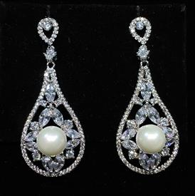 "-,CLEAR CZ TEARDROP DANGLE EARRINGS WITH FAUX PEARLS & POST BACKS. 1.75"" LONG, .75"" WIDE"