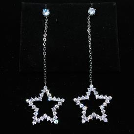 "-,CLEAR CZ SMALL STAR DANGLE POST BACK EARRINGS. 2.5"" LONG, .75"" WIDE"
