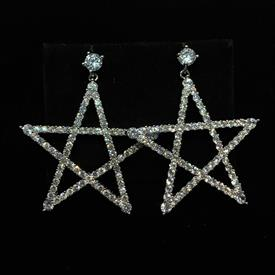 "-,CLEAR CZ LARGE STAR DANGLE POST BACK EARRINGS. 1.8"" LONG, 1.5"" WIDE"