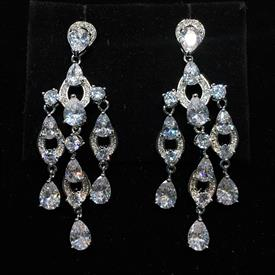"-,CLEAR CZ THREE DANGLE POST BACK EARRINGS. 2.25"" LONG, .75"" WIDE"