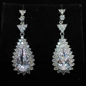 "-,CLEAR CZ LARGE TEARDROP DANGLE POST BACK EARRINGS. 2.75"" LONG, .6"" WIDE"