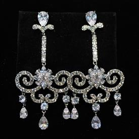 "-,CLEAR CZ SWING SHAPED DANGLE POST BACK EARRINGS. 2.5"" LONG, 1.25"" WIDE"
