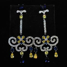 "-,CLEAR, YELLOW, & BLUE CZ SWING SHAPED DANGLE POST BACK EARRINGS. 2.5"" LONG, 1.25"" WIDE"