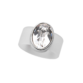 -,LARGE CLEAR CRYSTAL ON CLEAR RUBBER BAND RING. FITS APPROX. SIZE 9. APPROX. 8 CARAT SWAROVSKI CRYSTAL