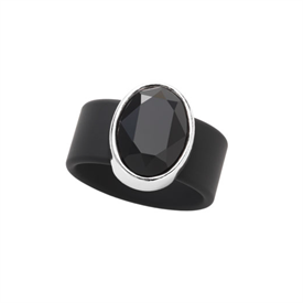 -,SMALL JET CRYSTAL ON BLACK RUBBER BAND RING. FITS APPROX. SIZE 7. APPROX. 8 CARAT SWAROVSKI CRYSTAL