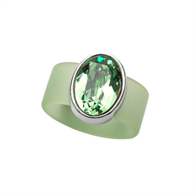 -,SMALL PERIDOT CRYSTAL ON LIGHT GREEN RUBBER BAND RING. FITS APPROX. SIZE 7. APPROX. 8 CARAT SWAROVSKI CRYSTAL