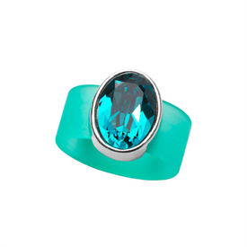 -,MEDIUM BLUE TOURMALINE CRYSTAL ON TURQUOISE RUBBER BAND RING. FITS APPROX. SIZE 8. APPROX. 8 CARAT SWAROVSKI CRYSTAL