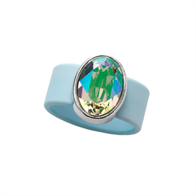 -,LARGE PARADISE SHINE CRYSTAL ON LIGHT BLUE RUBBER BAND RING. FITS APPROX. SIZE 9. APPROX. 8 CARAT SWAROVSKI CRYSTAL