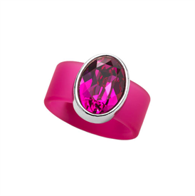 -,SMALL FUCHSIA CRYSTAL ON PINK RUBBER BAND RING. FITS APPROX. SIZE 7. APPROX. 8 CARAT SWAROVSKI CRYSTAL