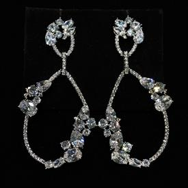 "-,CLEAR CZ HOLLOW TEARDROP DANGLE POST BACK EARRINGS. 2.3"" LONG, 1.2"" WIDE"