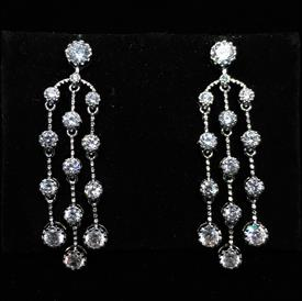 "-,CLEAR CZ TRIPLE STRAND DANGLE POST BACK EARRINGS. 1.65"" LONG"