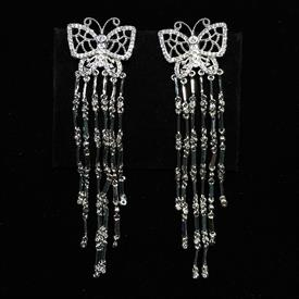 "-,CLEAR CZ BUTTERFLY DANGLE POST BACK EARRINGS. 3"" LONG, .75"" WIDE"