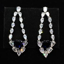 "-,CLEAR & BLUE CZ HEART DANGLE POST BACK EARRINGS. 1.85"" LONG, .7"" WIDE"
