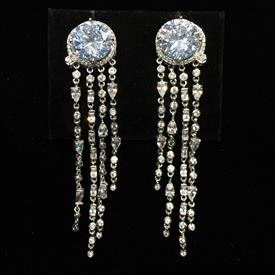 "-,CLEAR LARGE ROUND CZ POST BACK EARRINGS WITH DANGLES. 2.9"" LONG, .6"" WIDE"