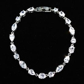 "-,SMALL CLEAR ALTERNATING SHAPES CZ BRACELET. 6.8"" LONG"