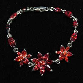 "-,GARNET RED CZ FLOWER BRACELET. 7.25"" LONG"