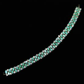 "-,JADE GREEN 'CRACKLE' & CLEAR CZ BRACELET. 6.75"" LONG, .2"" WIDE"
