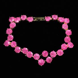 "-,PINK 'CRACKLE' CZ BRACELET. 6.8"" LONG, .55"" WIDE"
