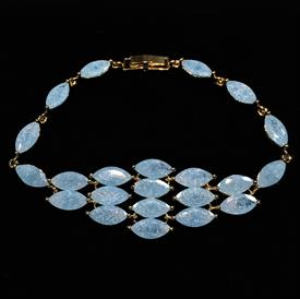 "-,GRADUATED AQUA BLUE 'CRACKLE' CZ BRACELET. 7.25"" LONG, .8"" WIDE"