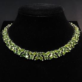 "-,PERIDOT CZ CHOKER NECKLACE. 15"" LONG, .5"" WIDE"