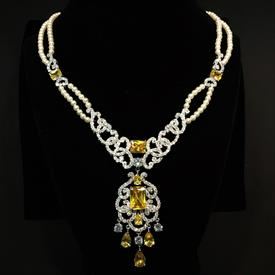 "-,CITRINE YELLOW & CLEAR CZ WITH FAUX PEARLS DOUBLE STRAND NECKLACE WITH DROP. 17"" LONG, 2.25"" DROP"