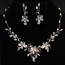 "-,CLEAR CZ & ROSE GOLD TONE METAL FLORAL NECKLACE & POST BACK EARRING SET. 17.5"" NECKLACE, 1.25"" WIDE AT CENTER. 1.5"" LONG EARRINGS"