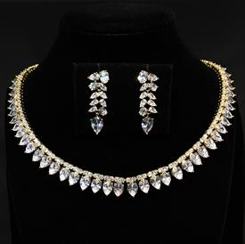 "-,CLEAR CZ & GOLD TONE METAL NECKLACE & POST BACK EARRING SET. 17.6"" LONG, .5"" WIDE NECKLACE. 1.35"" LONG EARRINGS"