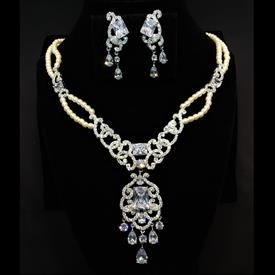 "-,CLEAR CZ & FAUX PEARL DOUBLE STRAND NECKLACE & POST BACK EARRING SET. 17.25"" LONG NECKLACE WITH 3"" LONG DROP. 1.65"" LONG EARRINGS"