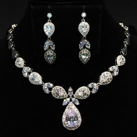 "-,CLEAR CZ TEARDROP NECKLACE & EARRING SET. 16.4"" LONG NECKLACE WITH 1.3"" LONG DROP. 1.6"" LONG EARRINGS"