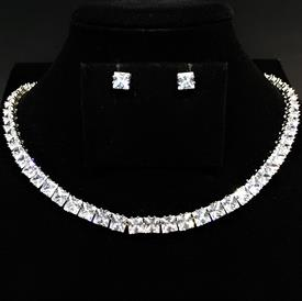 "-,CLEAR SQUARE CUT CZ NECKLACE & EARRING SET. 17"" LONG NECKLACE. .25"" WIDE POSTS."