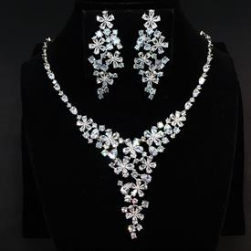 "-,CLEAR CZ FLOWERS NECKLACE & EARRING SET. 17"" NECKLACE WITH 2.25"" DROP. 2.1"" LONG, .9"" WIDE EARRINGS."