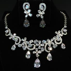 "-,CLEAR CZ TEARDROPS & FLOWERS NECKLACE & EARRING SET. 17"" LONG NECKLACE WITH 1.8"" LONG DROP. 1.7"" LONG, .5"" WIDE EARRINGS"