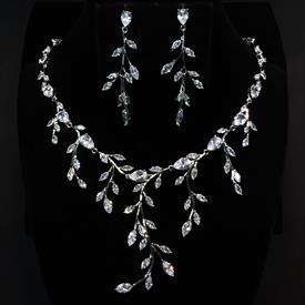 "-,LONG CLEAR CZ BRANCHES OF LEAVES NECKLACE & EARRING SET. 16.6"" NECKLACE WITH 2.25"" DROP. 2.2"" LONG, .75"" WIDE EARRINGS"