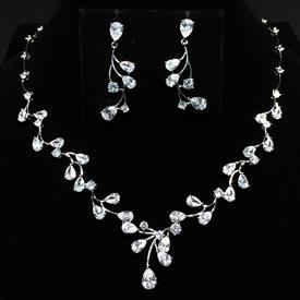 "-,SHORT CLEAR CZ BRANCHES WITH LEAVES NECKLACE & EARRING SET. 17.1"" NECKLACE WITH 1"" DROP. 1.5"" LONG, .55"" WIDE EARRINGS"