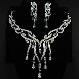 "-,CLEAR CZ WATERFALL NECKLACE & EARRING SET. 17"" NECKLACE WITH 3.35"" DROP. 2"" LONG, .5"" WIDE EARRINGS"