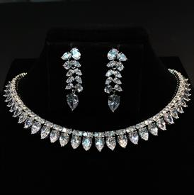 "-,CLEAR CZ PEAR CUT CHOKER & EARRING SET. 15.3"" LONG, .5"" WIDE NECKLACE. 1.4"" LONG, .4"" WIDE EARRINGS"