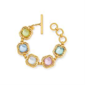 _MULTI-STONE BRACELET. CUSHION CUT GLASS GEMSTONES WITH MOTHER OF PEARL DOUBLET SET IN LABYRINTHINE CUTOUT 24K GOLD PLATE. 7-8.5""