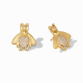 "-,BEE LUXE EARRINGS. WHIMSICAL 24K GOLD PLATED BEES WITH SPARKLING BACKS. 1"" LONG"