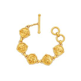 """_BEE LINK BRACELET. NATURE'S TINY WONDER SKILLFULLY CARVED IN HIGH RELIEF ON LIGHTLY HAMMERED 24K GOLS PLATED LINKS. 7"""" TO 8"""" LONG"""