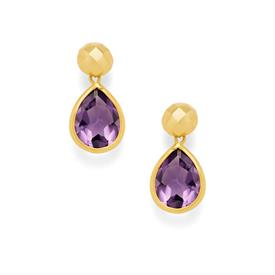 "-,AMETHYST MIDI EARRINGS. GILDED 24K PLATE DOME ATOP A GLITTERING PEAR SHAPED GLASS GEMSTONE. 1.75"". POST BACK"