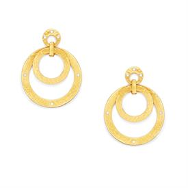 "-,STATEMENT EARRINGS IN ZIRCON. LIGHTLY HAMMERED INTERLOCKING 24K GOLD PLATE CIRCLES WITH GEMSTONE ACCENTS. 2"" LONG."