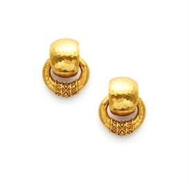 _DOORKNOCKER EARRINGS. LIGHTLY HAMMERED 24K GOLD PLATE DECORATED WITH A BEAD IN DIAMOND MOTIF. 1""