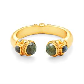 -,HINGED CUFF BRACELET IN LABRADORITE. FACETED GEMSTONES SET IN LIGHTLY HAMMERED & BEADED 24K GOLD PLATE. HINGED TO FIT ALL WRISTS.