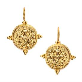 """-,QUATRO COIN EARRING. CLASSIC HIGH RELIEF DROPS RICHLY TEXTURED & EDGED WITH TWISTS & TRFOILS OF BEADS IN 24K GOLD PLATE. 1.5"""""""