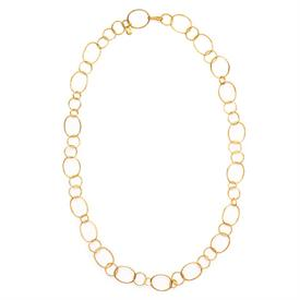 -,COLETTE NECKLACE. DELIGHTFULLY LENGTHY & LIGHTWEIGHT 24K GOLD PLATED ETCHED LOOPS OF VARYING SIZES. 36""