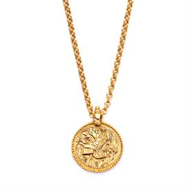 "-,COIN PENDANT. RICHLY TEXTURED 1.5"" 24K GOLD PLATED COIN FEATURING A KNIGHT ON HORSEBACK ON A FLORAL MOTIF BACKGROUND. 18.5"" CHAIN"