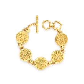 """_VALENCIA BRACELET. 24K GOLD PLATED COINS INSPIRED BY A 17TH CENTURY COIN WITH A ROYAL CREST. ADJUSTABLE TOGGLE CLOSURE, 7"""" OR 8"""""""