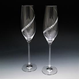 "-CLEAR GLASS & SWAROVSKI CRYSTAL TOASTING FLUTE PAIR. 10.5"" TALL"